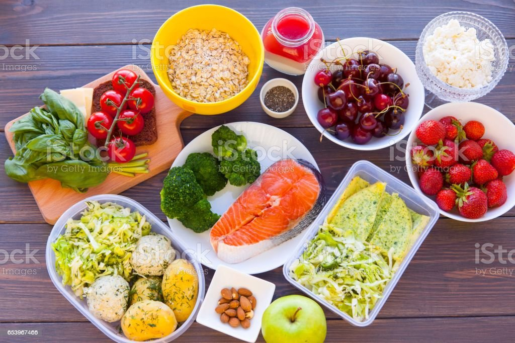 Health & Fitness Food in lunch boxes. Set meal for the whole day stock photo