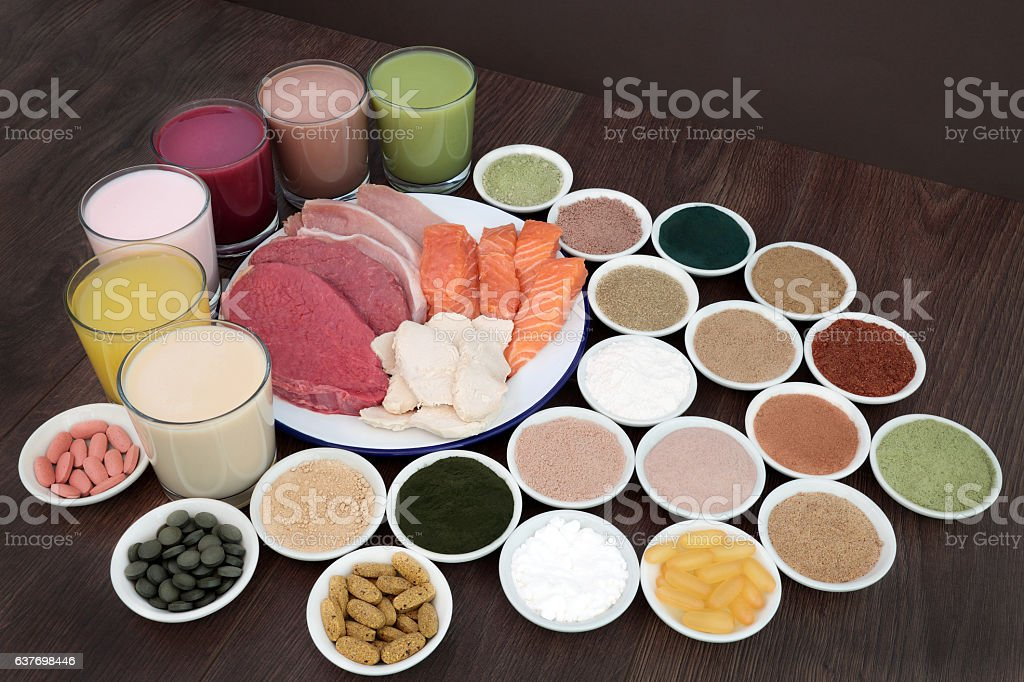 Health Food and Drinks for Body Builders stock photo
