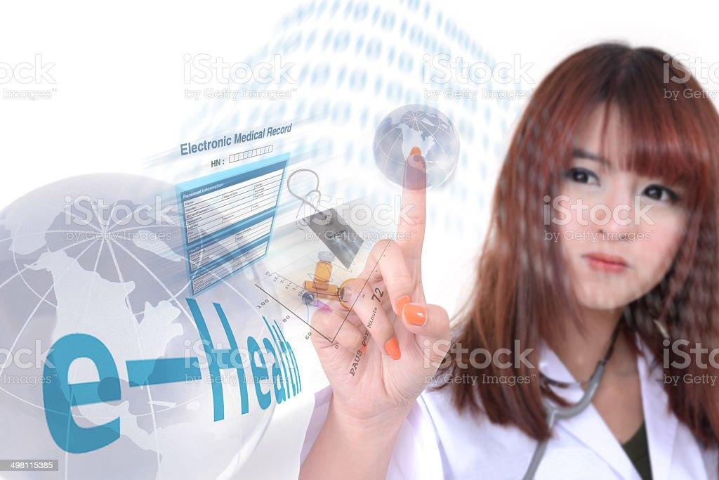 Health information by e-health system. stock photo