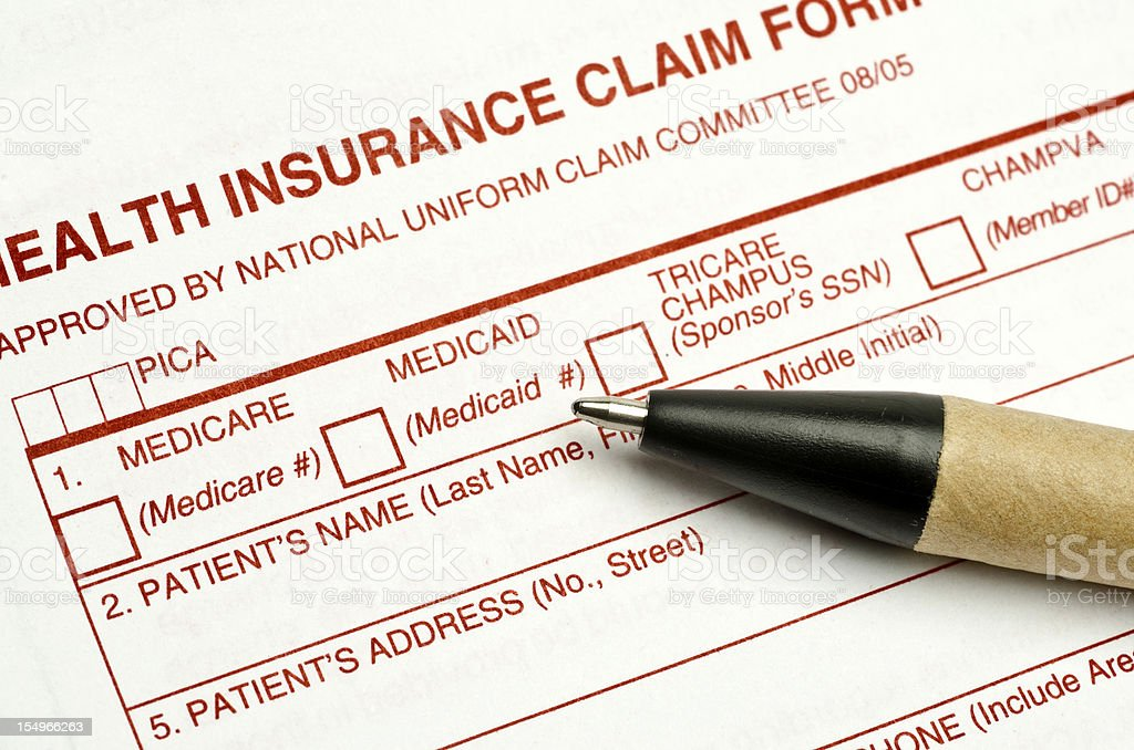 Health Insurance claim form stock photo