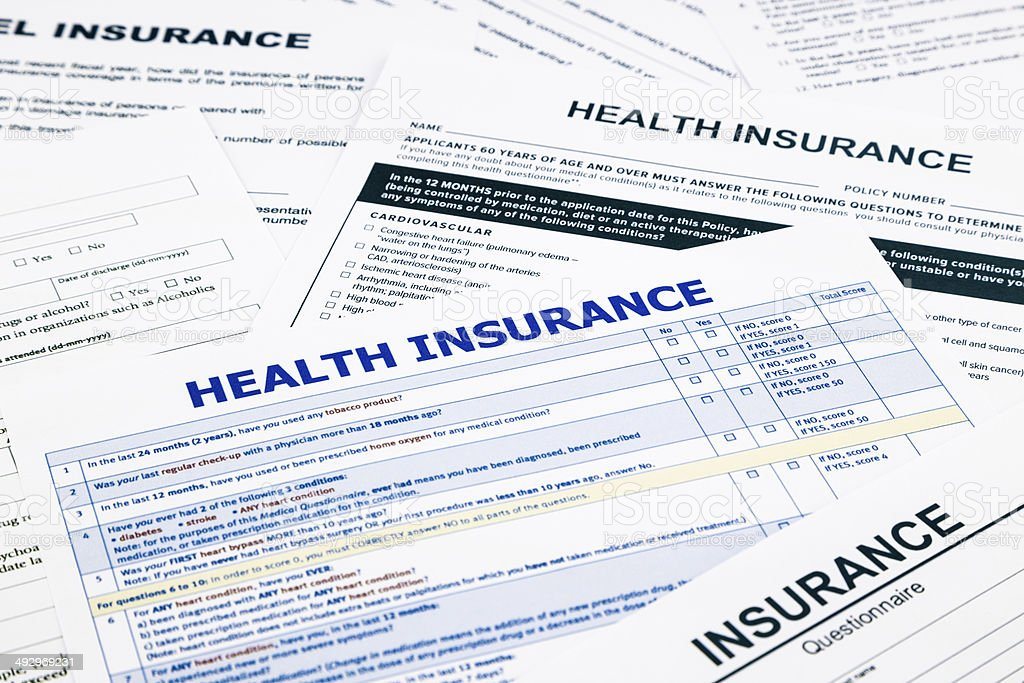 Health insurance form stock photo