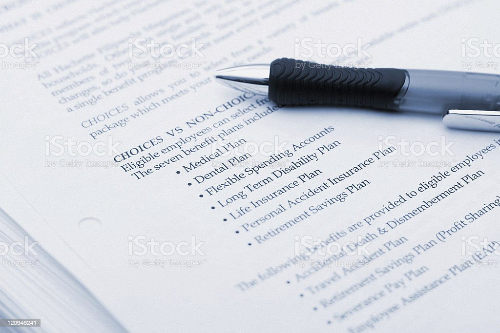 Health Insurance Plans - Paperwork and Pen royalty-free stock photo