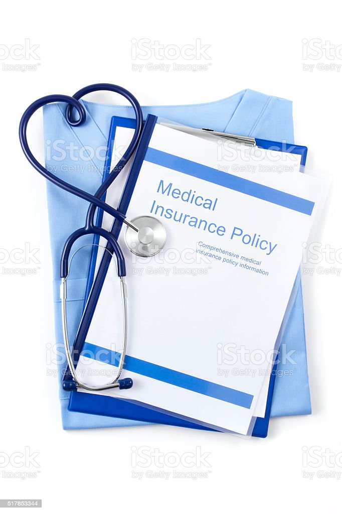Health Insurance Policy Brochure and Stethoscope stock photo