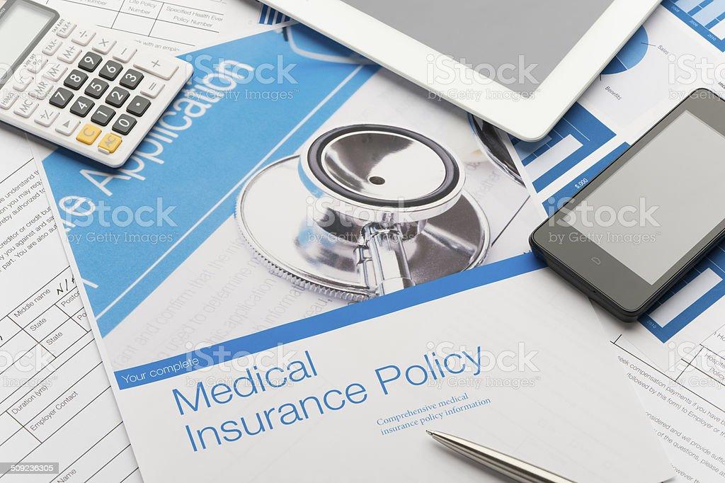 Health Insurance Policy brochure stock photo