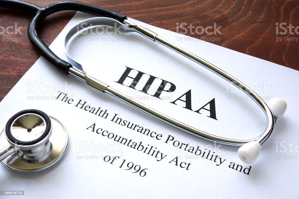 Health Insurance Portability and accountability act HIPAA and stethoscope. stock photo