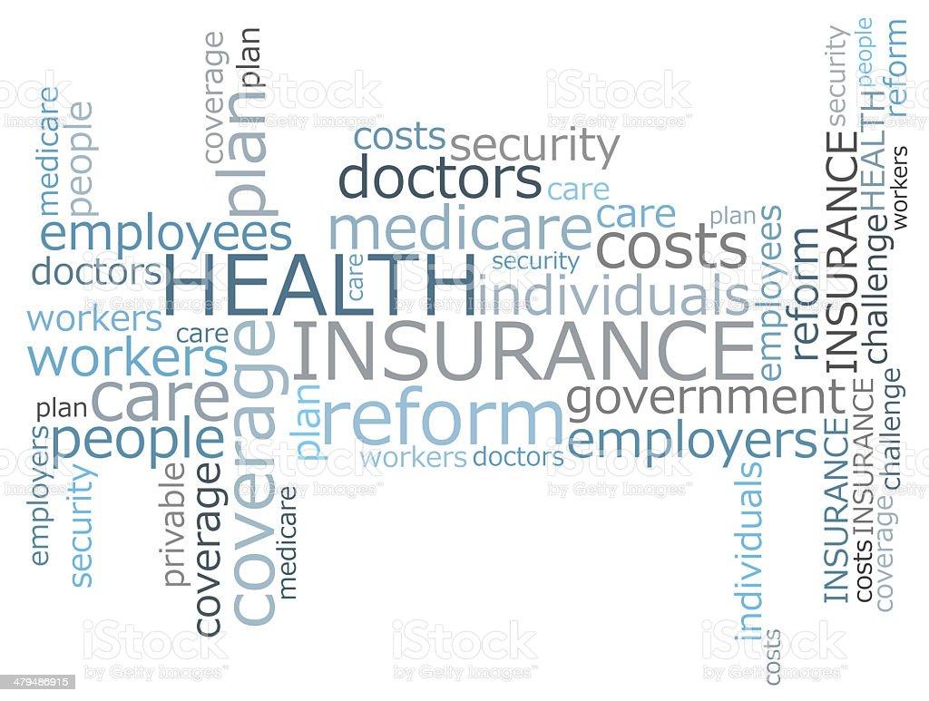 Health insurance word cloud stock photo