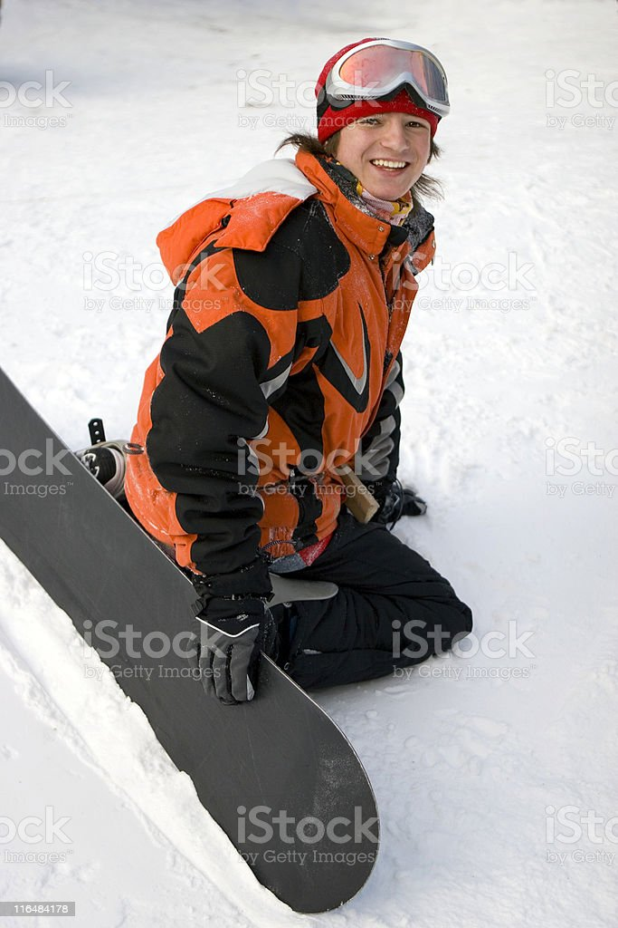 health lifestyle image of teens snowboarder stock photo