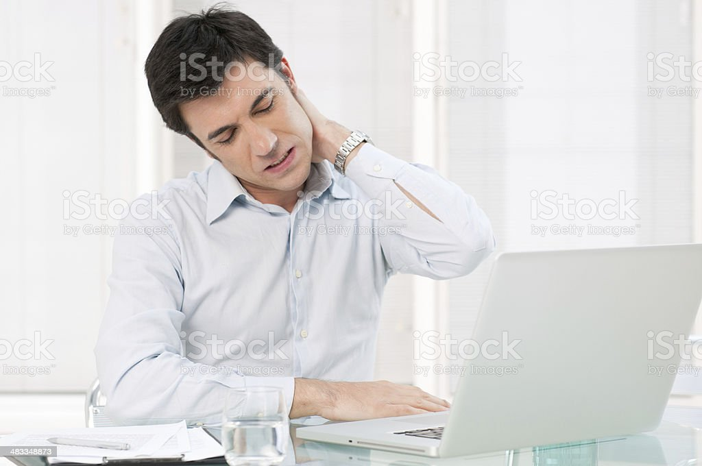 Health problem at office work stock photo