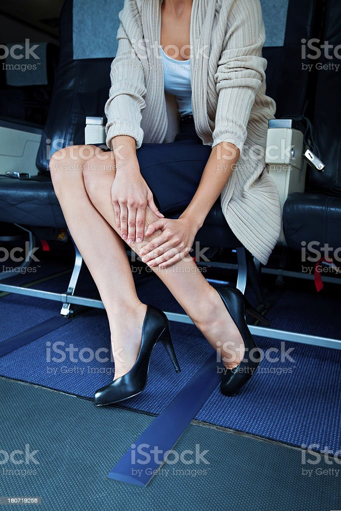 Health problem on an airplane stock photo