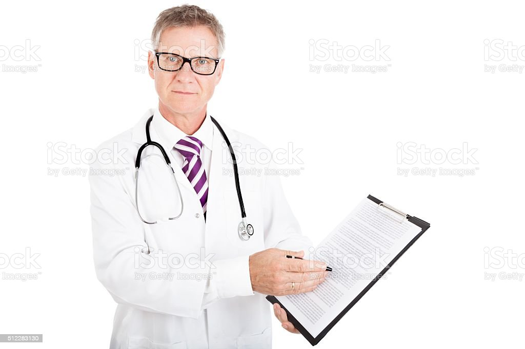 Health Professional Showing Medical Reports stock photo