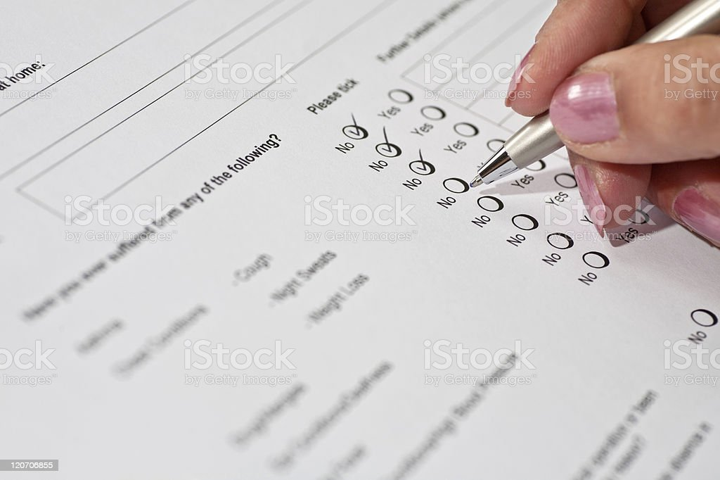 Health Questionnaire royalty-free stock photo