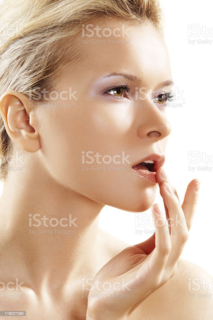 Health & skin care, lovely woman touching her lips stock photo