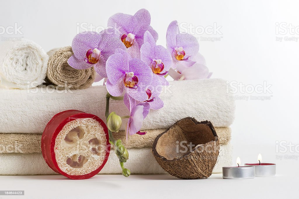 Health spa and flower orchid stock photo