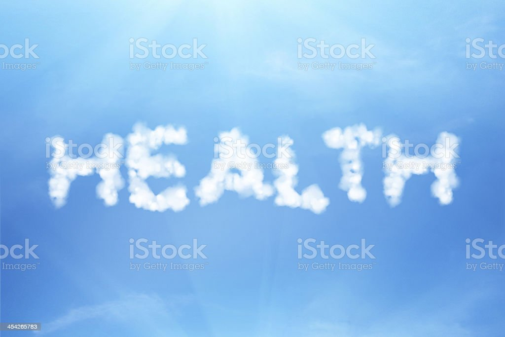 Health text written in the cloudy sky royalty-free stock photo