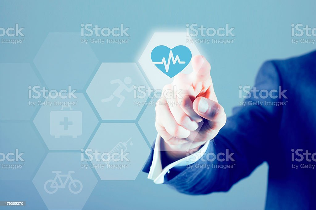 Health touch screen stock photo