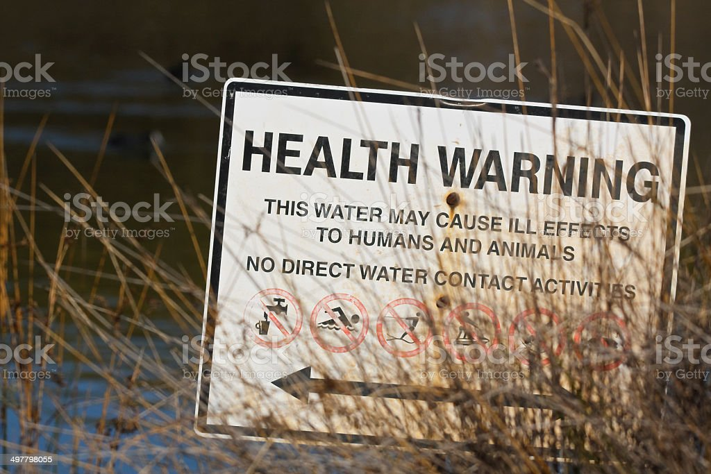 Health Warning - No Direct  Water Contact Activities stock photo