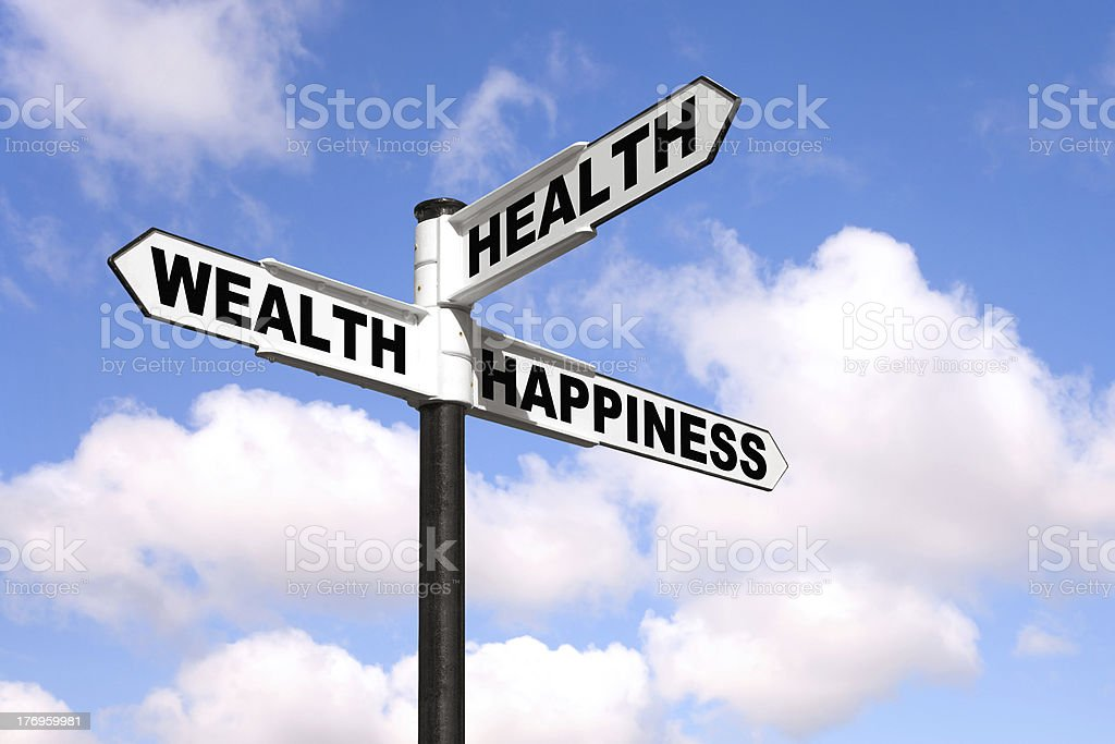 Health Wealth Happiness signpost stock photo