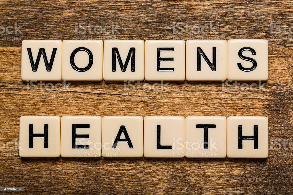 Health. Women's Health card isolated on white background stock photo