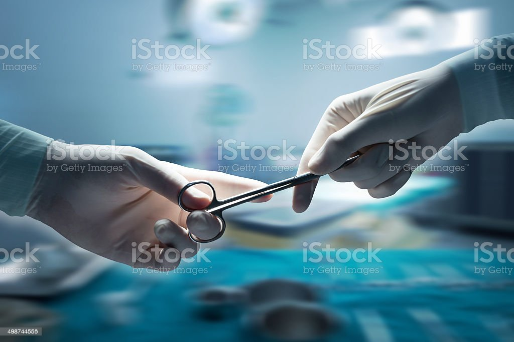 healthcare and medical concept , Close-up of surgeons hands hold stock photo