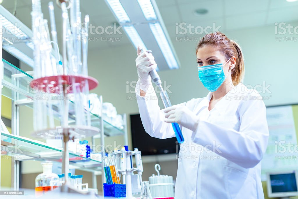 Healthcare and medical reseach in laboratory stock photo