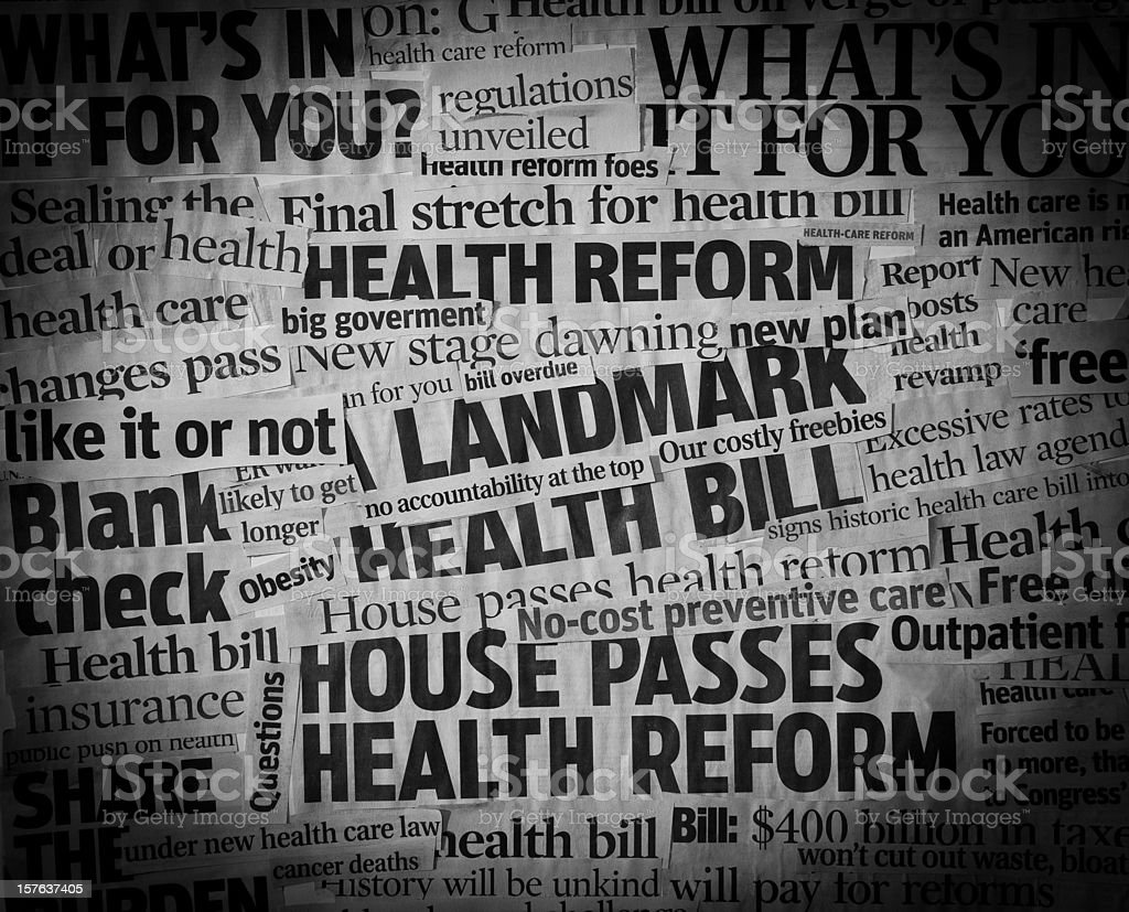 healthcare bill Headline Collage stock photo