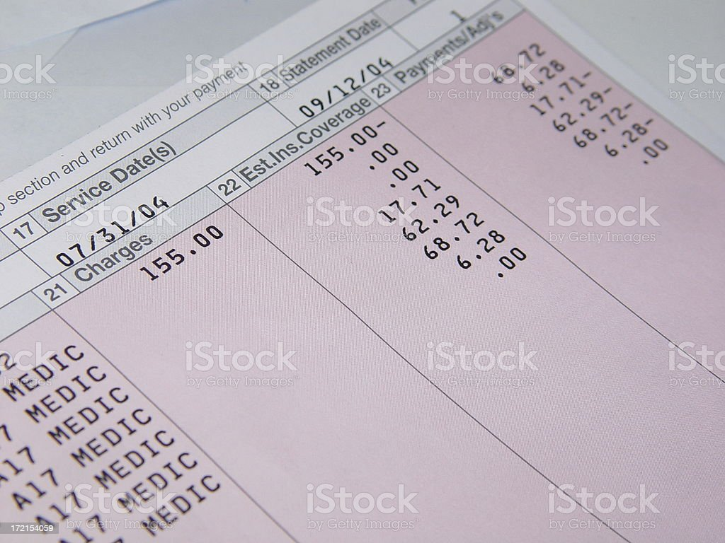 healthcare bills royalty-free stock photo