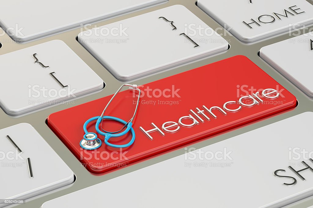 Healthcare button, red hot key on  keyboard 3D rendering vector art illustration