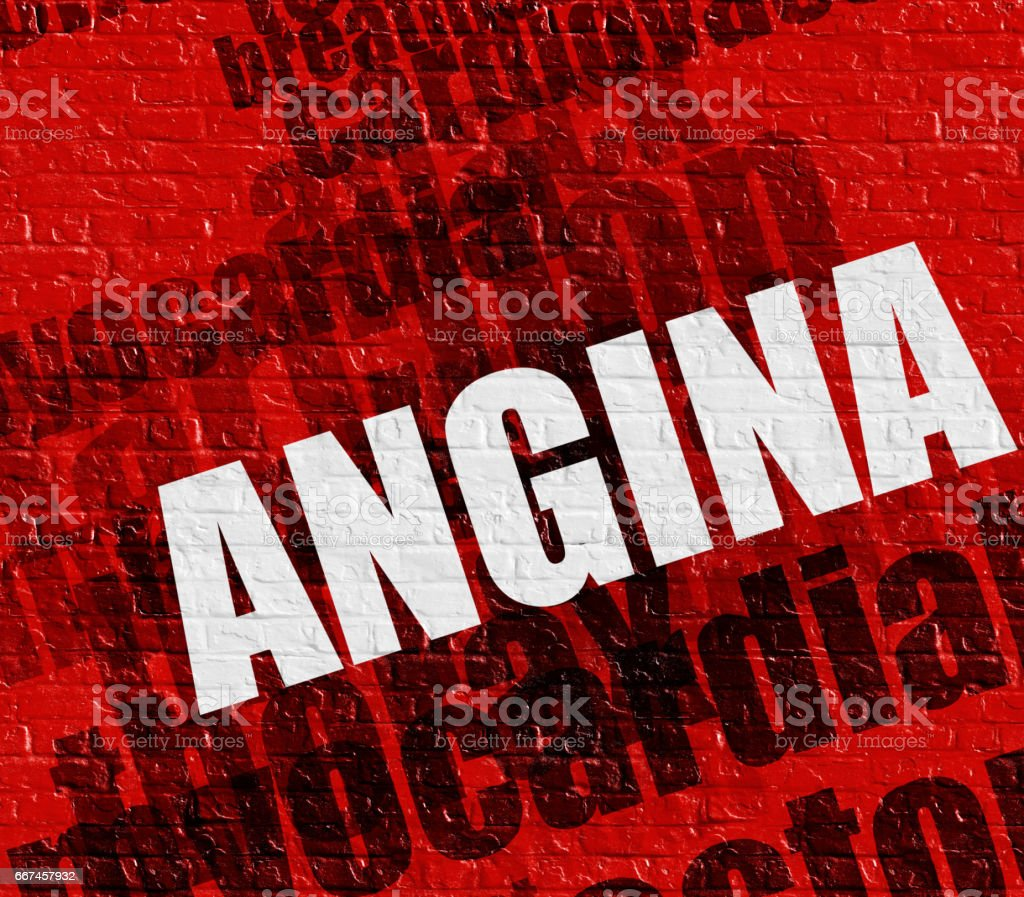 Healthcare concept: Angina on the Red Wall stock photo