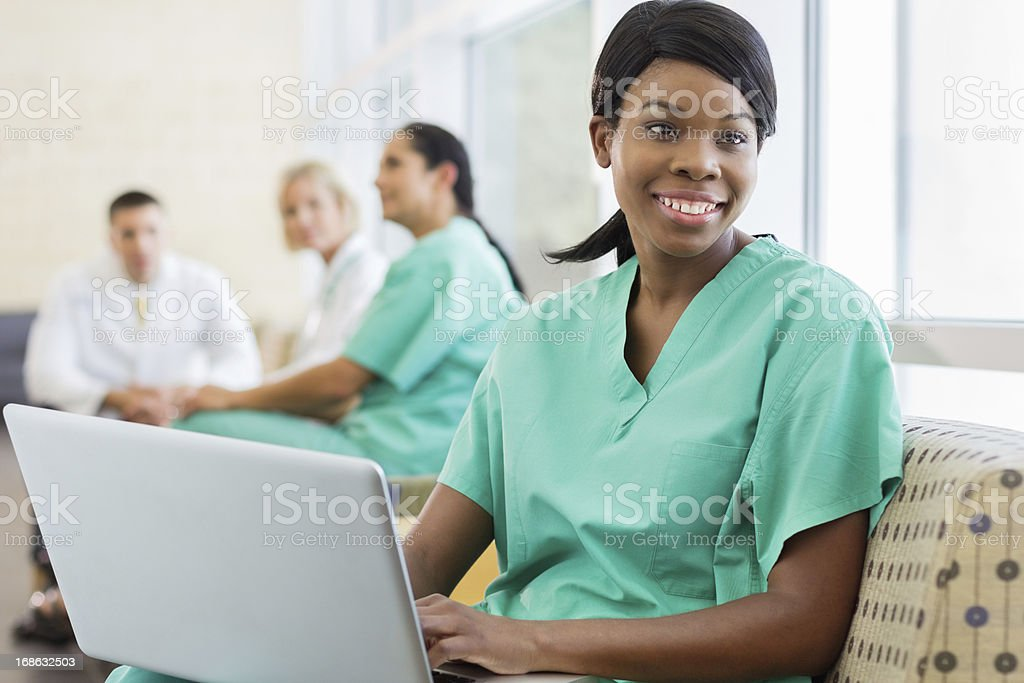 Healthcare Personnel in the hospital break room stock photo