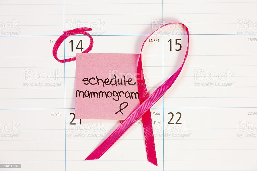 Healthcare: Reminder note to schedule mammogram. stock photo