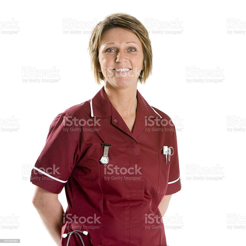 healthcare: smiling, confident staff nurse, waist-up portrait royalty-free stock photo
