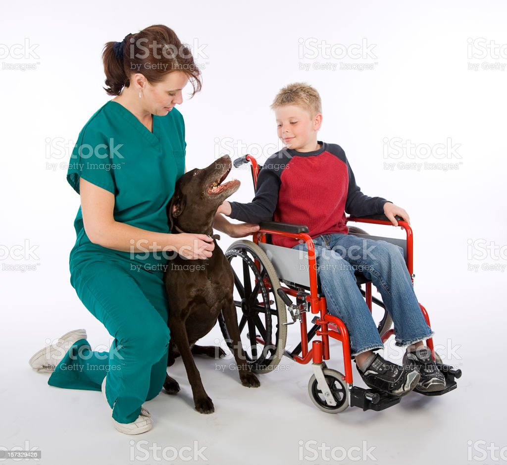 Healthcare Worker and Patient with Dog royalty-free stock photo