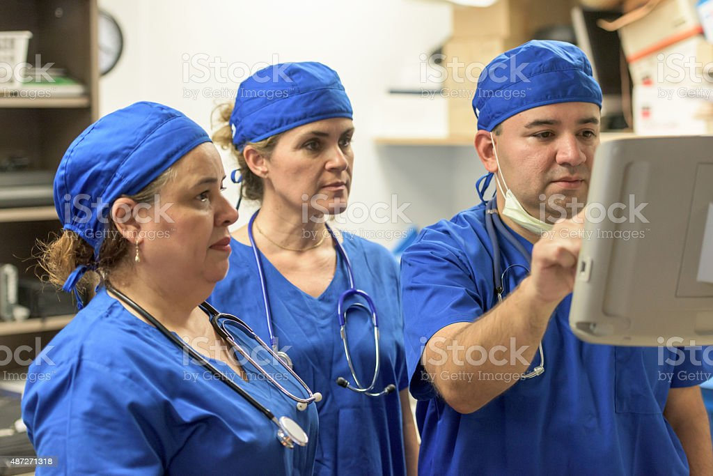 Healthcare workers at work (real people) stock photo