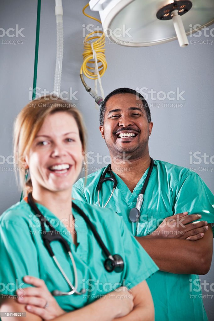 Healthcare workers in clinic or hospital stock photo