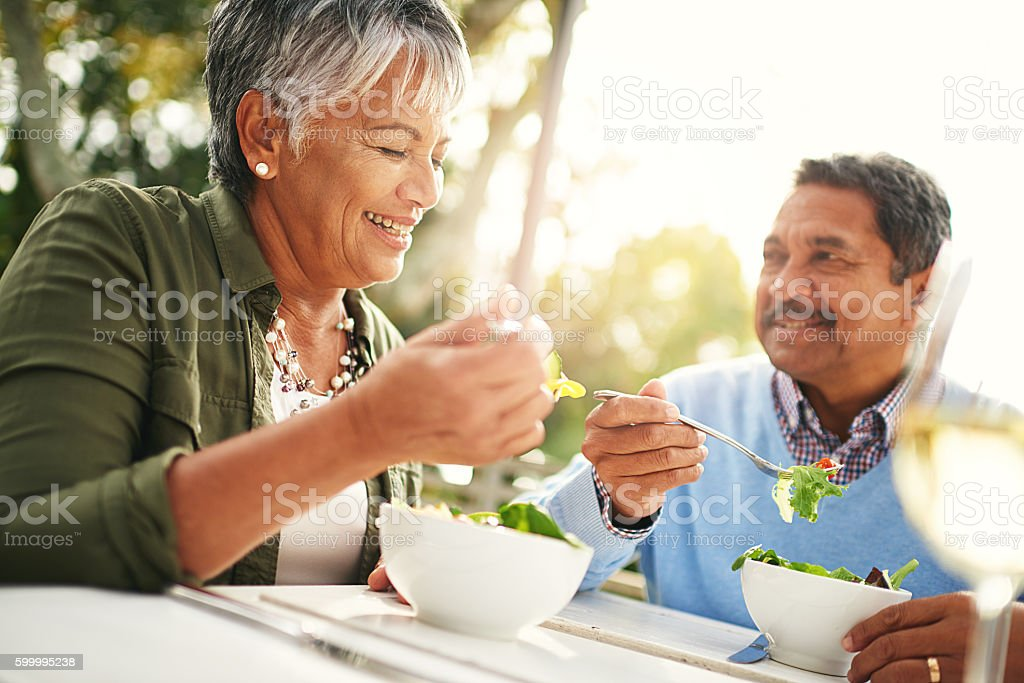 Healthiness and happiness go hand in hand stock photo