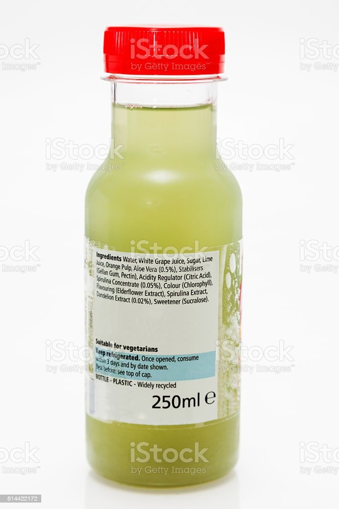 healthy 250 ml transparent plastic juice carton with ingredient information stock photo