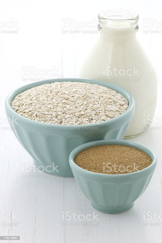 Healthy and delicious oatmeal ingredients royalty-free stock photo