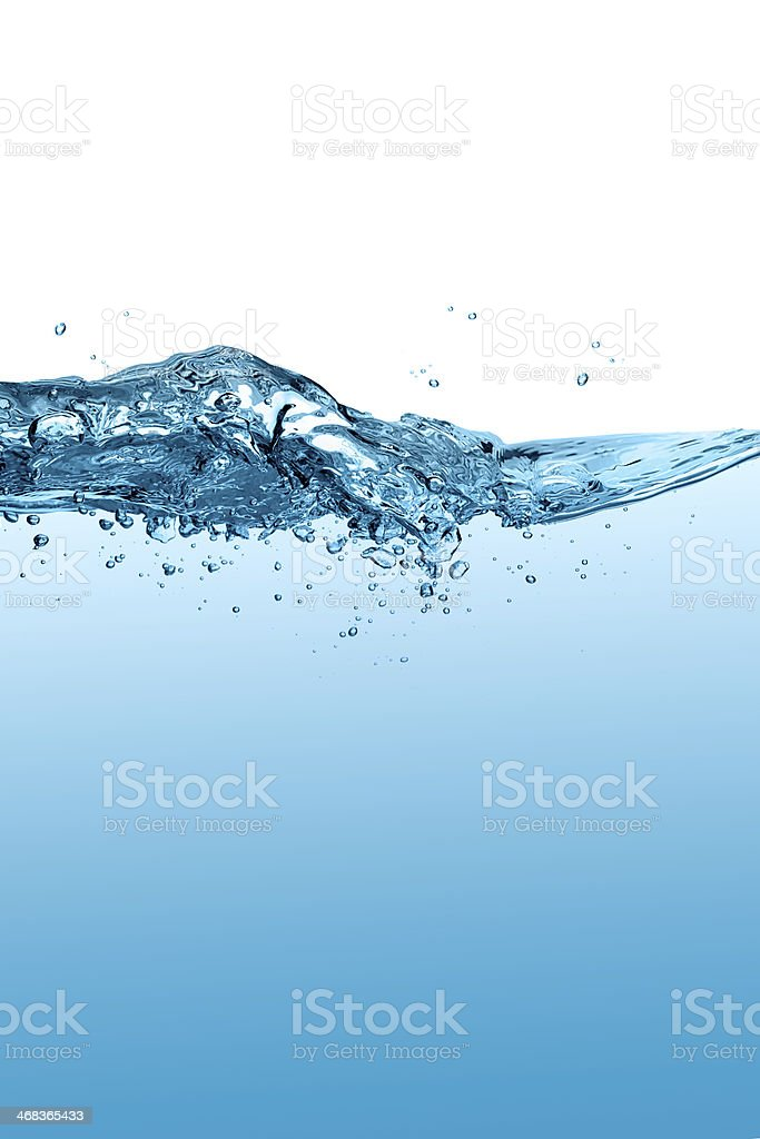 Healthy and Fresh Water. Blue Waterline. Waves. Drops stock photo