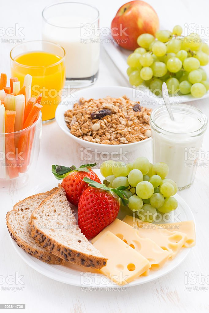 healthy and nutritious breakfast with fresh fruits, vegetable stock photo