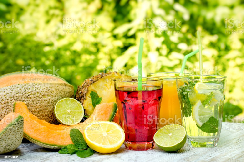 Healthy and refreshing drinks (beverages) stock photo