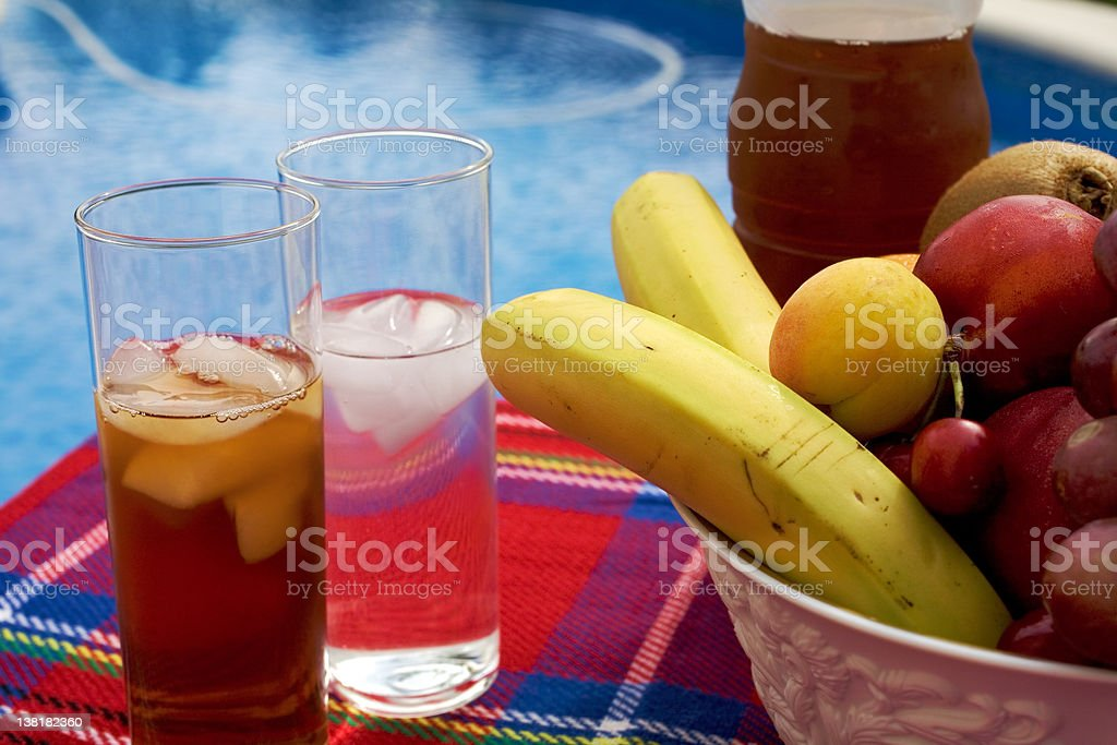 Healthy appetizer next to a swimming pool royalty-free stock photo