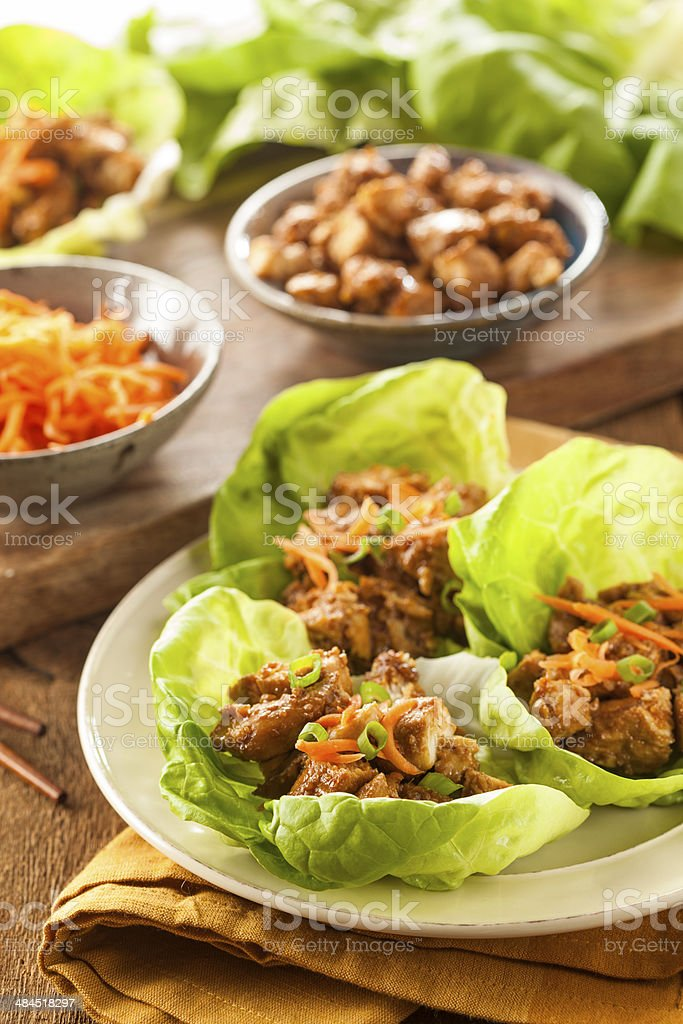 Healthy Asian Chicken Lettuce Wrap stock photo