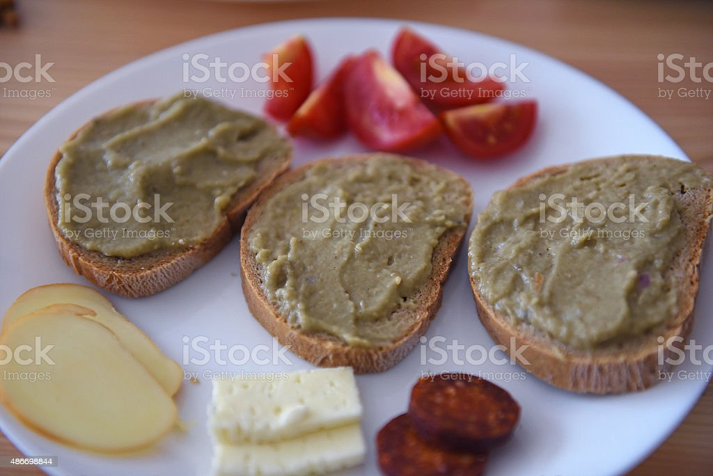 Healthy aubergine meal plate stock photo