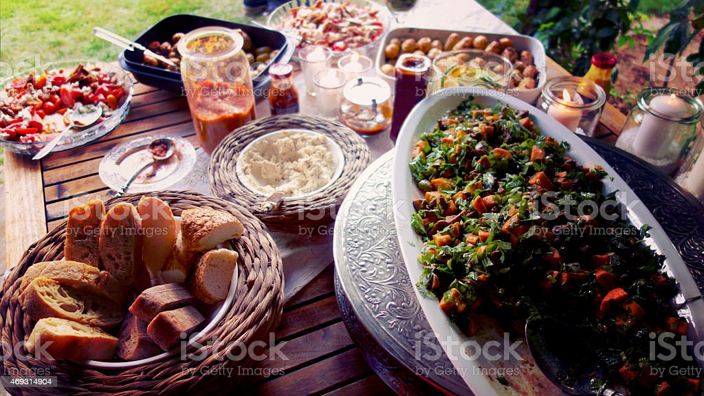 Healthy barbecue side dishes stock photo