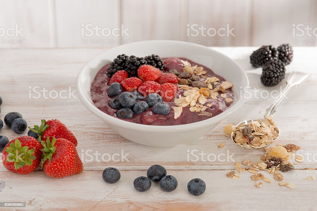 Healthy Bircher Muesli breakfast stock photo