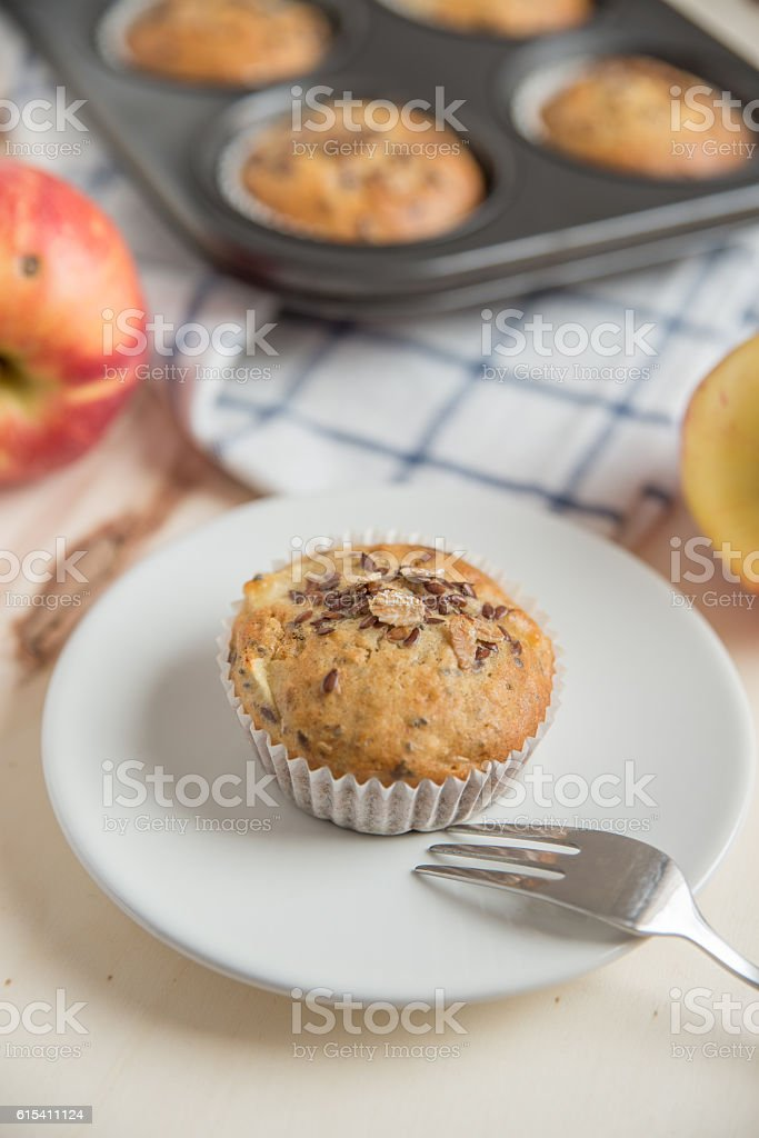 Healthy bircher muesli muffins with apple stock photo