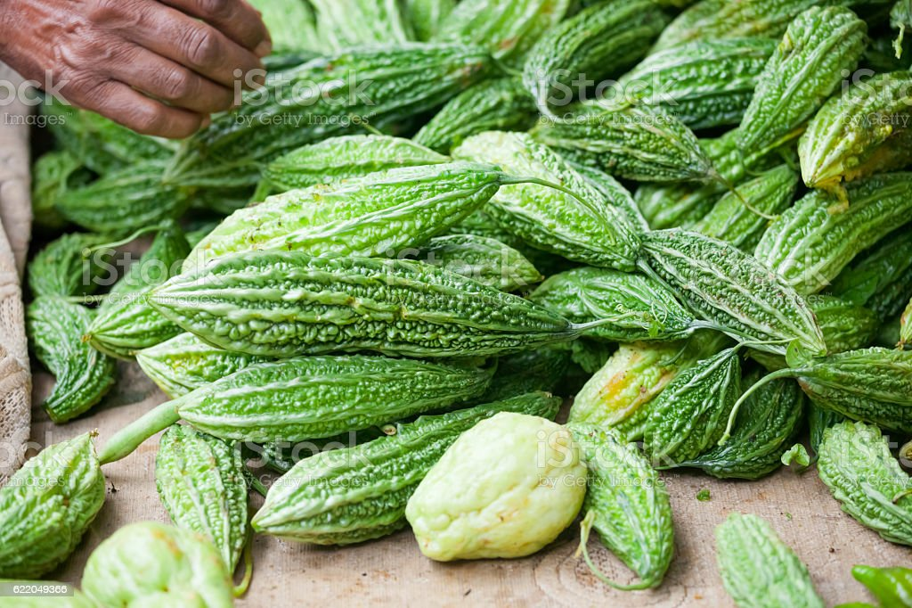 Healthy Bitter Gourd at Asian Market stock photo