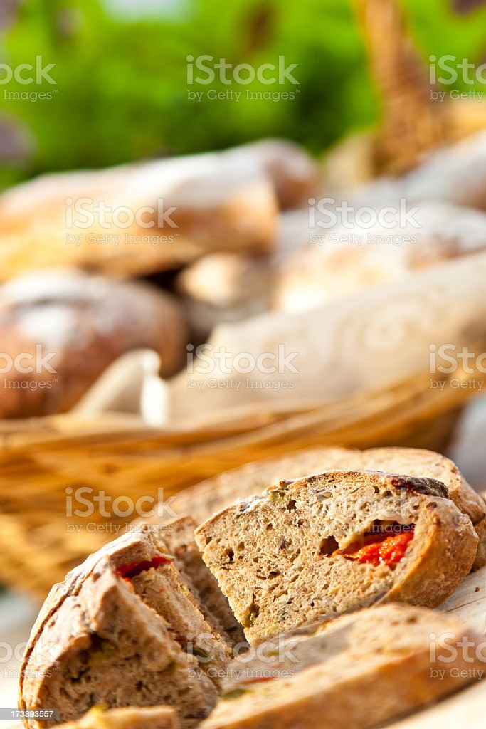 Healthy bread with paprika stock photo