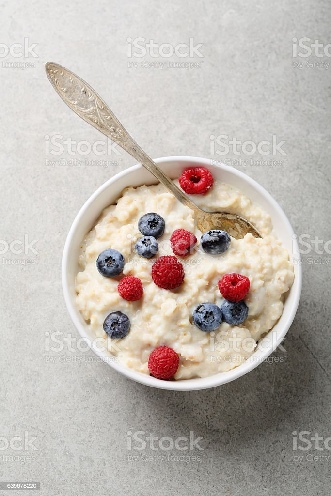 Healthy breakfast bowl with berry stock photo