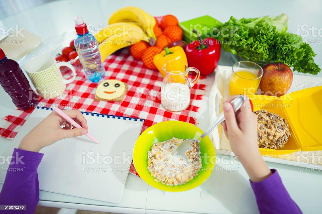 Healthy breakfast for kids stock photo